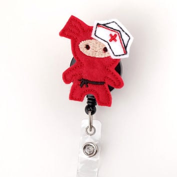 Ninja Nurse - Pediatric Nurse Badge - Peds RN Badge Reels - Cute Retractable Badge Holder - Felt Badge Reels - Nurse Gifts - BadgeBlooms