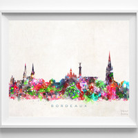 Bordeaux Skyline Print, France Print, Bordeaux Poster, France Cityscape, Watercolor Painting, City Skyline, Wall Decor, Christmas Gift
