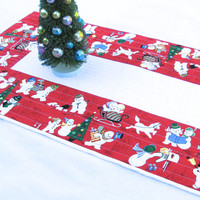 Christmas Table Runner, Quilted Snowmen Tablerunner