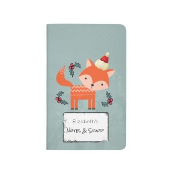 Orange Fox In Santa Hat Cute Christmas Customized Journal