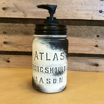 Mason Jar Soap Dispenser, Vintage Ivory Mason jar, Rustic Ivory Soap Dispenser, Distressed Ivory Mason Jar, Vintage Atlas Strong Shoulder