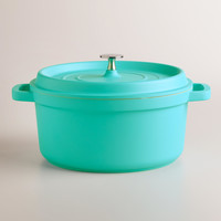 Aqua Round Cast Aluminum Dutch Oven