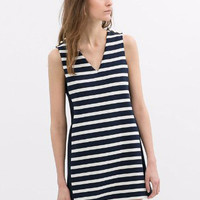 Blue and White Striped V-Neck Sleeveless Mini Dress