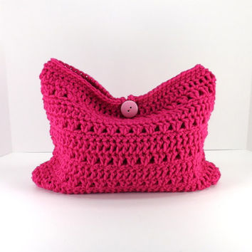 Crochet shocking pink make up bag, crochet mini bag, crochet cosmetic bag, crochet fashion make up bag 2014