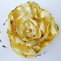 Yellow Flower Accessory, Hair Clip or Brooch, Bridal Sash, Wedding