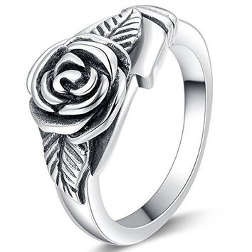 Jude Jewelers Retro Vintage Stainless Steel Flower Rose Promise Statement Cocktail Party Ring