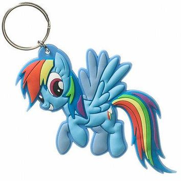 My Little Pony Rainbow Dash Rubber Toy Figure Keychain Key Ring Chain LICENSED