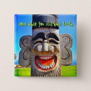 """Smile"" quote funny laughing teeth face photo Pinback Button"