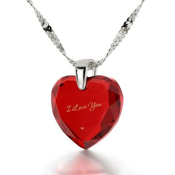 """I Love You"", 14k White Gold Necklace, Zirconia"