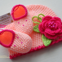 Hand knitted crochet beanie and baby booties / slippers.