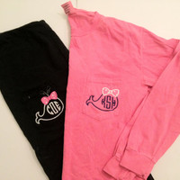 Whale with Bow Monogram Long Sleeve Pocket Tee