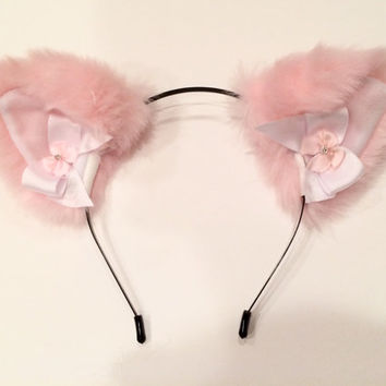 Pink & White Bow Ears