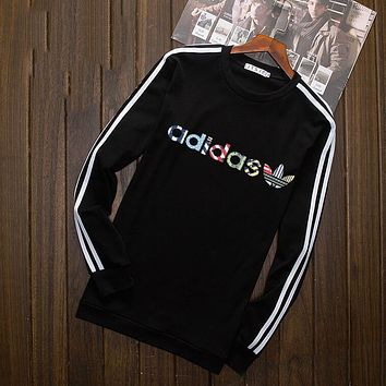 """""""Adidas"""" Multi-color Letter and Logo Print Long Sleeve Sweater(5-Color) Black I-YSSA-Z"""