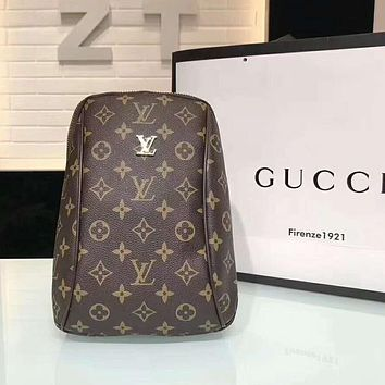 LV Louis Vuitton Fashion Monogram Leather Chest Bag Shoulder Bag Backpack Coffee LV Print I-AGG-CZDL