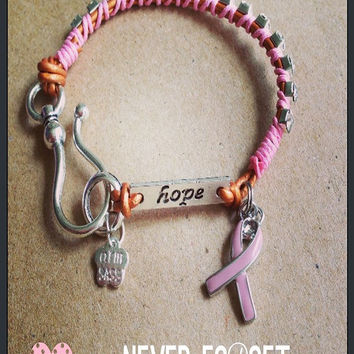 Pink Ribbon Breast Cancer Awareness Bracelet