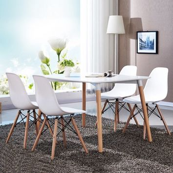 COSTWAY Set of 4 Mid Century Modern Style DSW Dining Side Chair Wood Leg - Walmart.com
