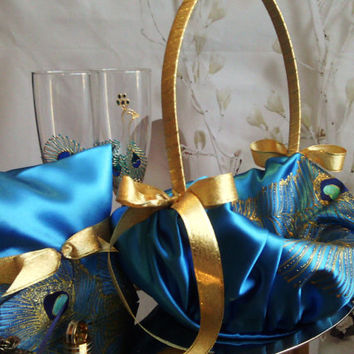 Hand painted Blue flower girl basket peacock feathers in gold, blue and turquoise Wedding favor