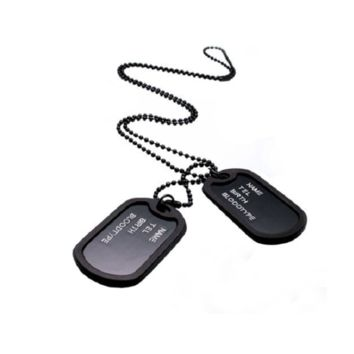 Mens Military Army Style Black 2 Dog Tags Chain Mens Pendant Necklace
