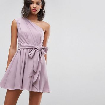 ASOS One Shoulder Tie Waist Mini Prom Dress at asos.com