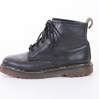 90s Dr Marten Black Leather Combat Ankle Boots Goth Grunge Made in England 6 Eye Unisex Mens Size US 7.5 Uk 7 Eur 40-41 Womens US 9 UK 7