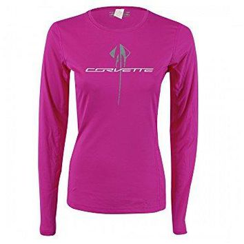 Corvette Glitter Stingray Ladies Long Sleeved T-Shirt