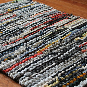 T Shirt Rag Rug Utility Earthy Gray Navy Blue Black Orange Tan Upcycled Laundry Modern Farmhouse Rectangle 23x29in --US Shipping Included
