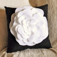 Black White Pillow Rose Pillow Flower Throw Pillow by bedbuggs