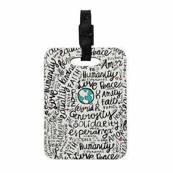 "Pom Graphic Design ""Positive World"" Teal Black Decorative Luggage Tag"