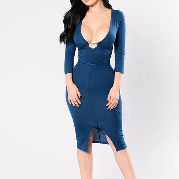 Satisfied Dress - Navy Teal