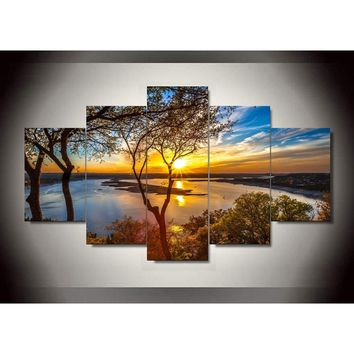 5 Pieces Sunrise Trees and Lake Landscape Large Size Beautiful HD Modern Home Wall Decor Abstract Canvas Print Oil Painting Wall