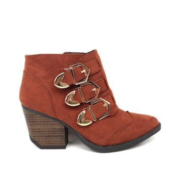 Adventurous Modern Day Cowboy Ankle Bootie In Rust Suede PU/Gold Buckle | Thirteen Vintage