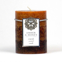 Red Berries Amber Honey Infused 3x4 Scented Decorative Pillar Candle