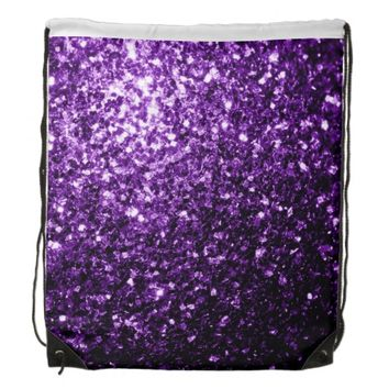 Beautiful Purple glitter sparkles look Cinch Bag (Drawstring Backpack) by PLdesign