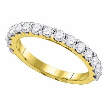 14kt Yellow Gold Women's Round Pave-set Diamond Single Row Wedding Band 1.00