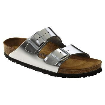 Birkenstock Classic Arizona Smooth Leather Soft Footbed Regular Fit Metallic Silver