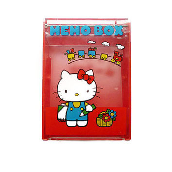 Hello Kitty, Sanrio Japan, Memo Box, Storage Box, Tiered Container, Vintage Seventies, Red Plastic, Vintage Collectible
