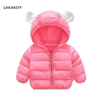 Trendy LAKAKS 6-24M Down Cotton Baby Coat Cute Bear Jacket For Little Girl Autumn Winter Clothes Hooded Toddler Clothing Kids Outerwear AT_94_13