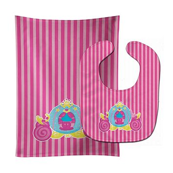 Princess Carriage Baby Bib & Burp Cloth BB8758STBU
