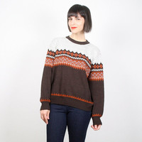 Vintage Nordic Sweater Brown Orange Sweater Nordic Jumper Pullover Striped Knit Boho Hippie Boyfriend Sweater 1970s 70s M L Medium Large