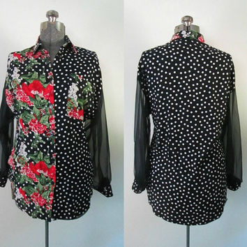 1980s Floral Polka Dot Blouse Black White Red Sheer Long Sleeves Vintage Stefano Grunge Chic