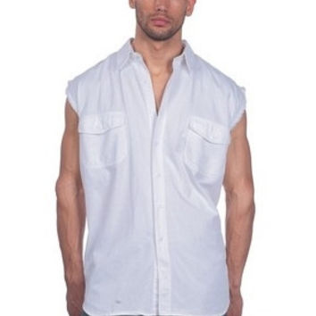 Mens Motorcycle Biker Shirt White Cut Off Sleeveless Cotton Denim Button up