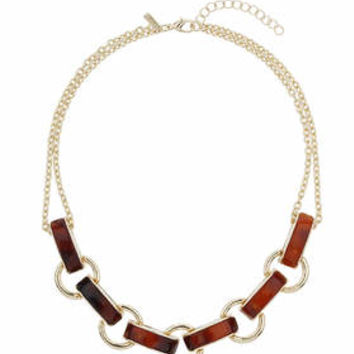 Tortoise Shell Link Necklace - Brown