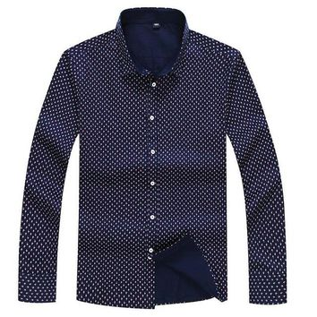 Men Spring Casual Polka Dot Long Sleeve Shirts | Floral Printed Button-Up Formal Polka Dot Business Men Shirt