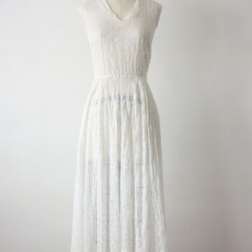 1950s dress / white eyelet dress / 50s wedding dress