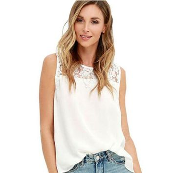 White Lace Tank Tops Women 2017 Summer Casual O-Neck Sleeveless Loose Pullover T-Shirt  Chiffon Tops Tee Blusas  Female Pink