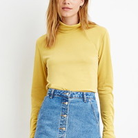 Contemporary Buttoned-Turtleneck Top