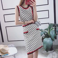 Round Neck Sleeveless Multicolor Letter Print  Retro Women  Simple  Dress
