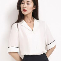 White Lapel Half Sleeve Chiffon Shirt