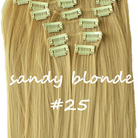 """22"""" Full Head Clip In Hair Extensions Straight (8 Wefts / 25 Sandy Blonde)"""