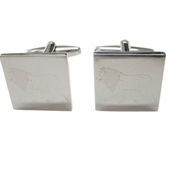 Silver Toned Etched Left Facing Full Lion Cufflinks
